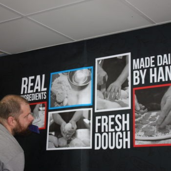 Sign on Time   Four Star Pizza Bray   interior graphics
