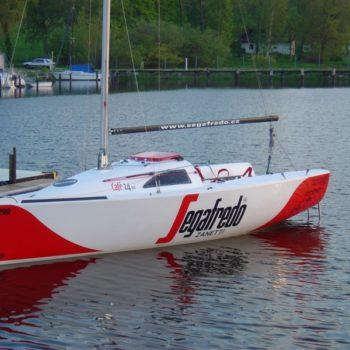Sign on Time_signage_Segafredo_full boat wrap