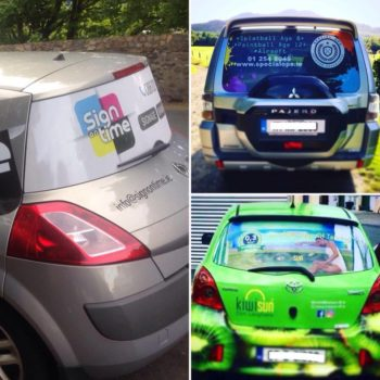 Sign on Time car wrap rear window Ireland