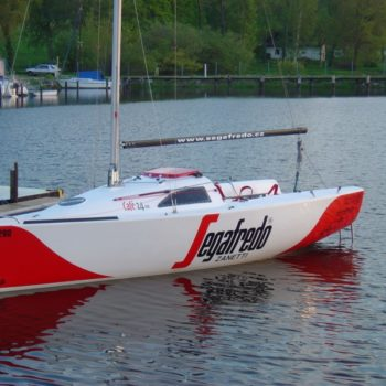 Sign on Time_signage_Segafredo_full boat wrap