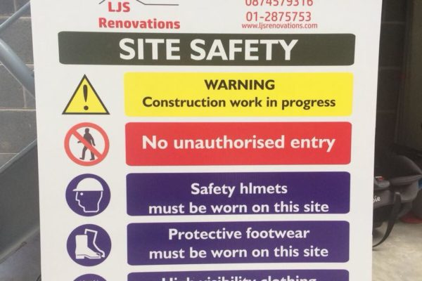 site safety sign corriboard